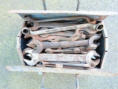 Vintage Joblot Of Spanners Wrenches Hand Tools In Metal Tool Box