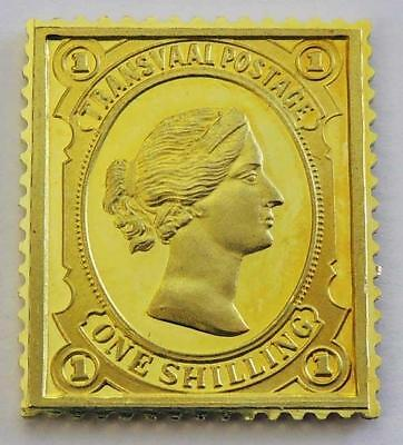 18ct GOLD BAR Vintage 10.7g QUEEN VICTORIA TRANSVAAL SHILLING STAMP