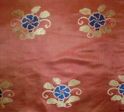 BEAUTIFUL PIECE ANTIQUE 18th/19th CHINESE PURE SILK BROCADE, FLOWERS
