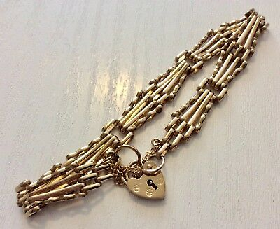Superb Quality Ladies Vintage Solid 9 Carat Gold Gate Bracelet & Padlock Nice