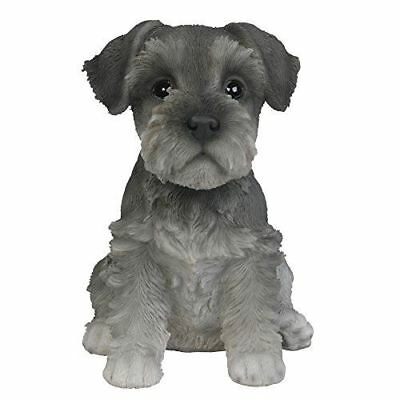 """Adorable Seated Mini Schnauzer Puppy Collectible Figurine Amazing Dog 6.5"""" Tall"""
