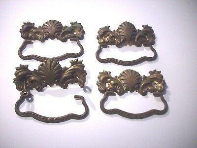 4-Antique Victorian Brass Drawer Pulls Handles Clam Shell Architectural Pieces