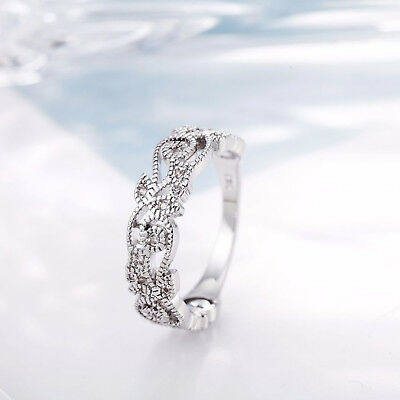 Wedding Ring Exquisite Women's 925 Sterling Silver Floral Flower Diamond Lucky