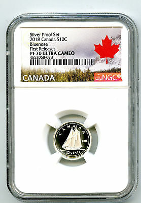 2018 Canada 10 Cent Silver Proof Ngc Pf70 Ucam Bluenose Dime First Releases
