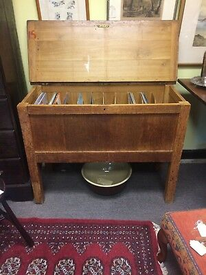 Vintage Old School Pine Desk / Record Chest With 10 Slots For Holding Records