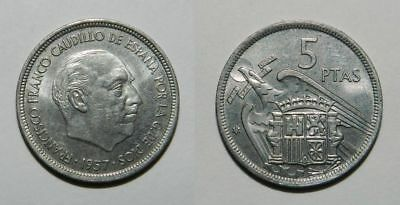 SPAIN : 5 PESETAS 1957 (73) - LUSTROUS gEF - General Franco