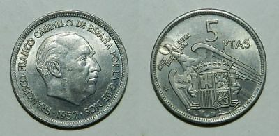 SPAIN : 5 PESETAS 1957 (69) - LUSTROUS EF - General Franco