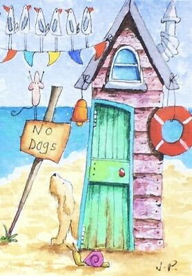 Watercolour ACEO Painting by JULIA Seaside, Beach Hut, Dog, Mouse, Snail