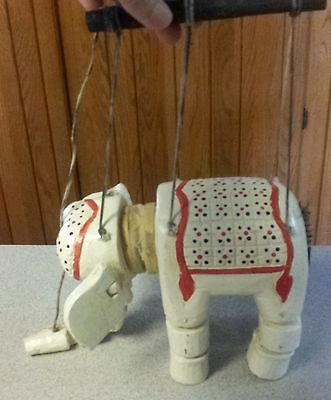 Vintage Marionette Puppet White Elephant Carved Wooden Handpainted Jointed Asian