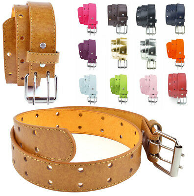 Kids Perforated Faux Leather Two Hole Belt - Double Prong Buckle for Boys Girls