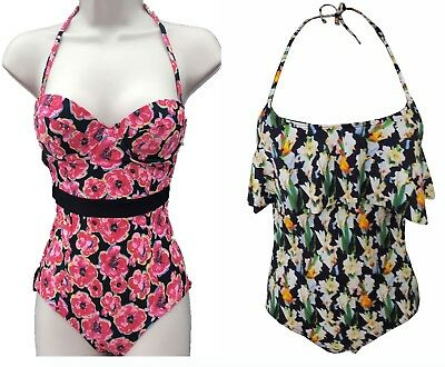 New Topshop Black Red Floral Swimming Costumes Swim Wear Beach Holiday Size 6-14