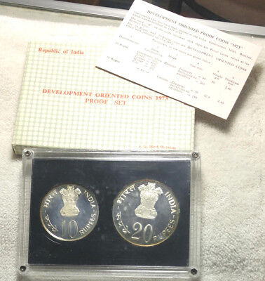 India 1973-B 2 piece silver proof set - Mintage of 2408 sets -  free ship