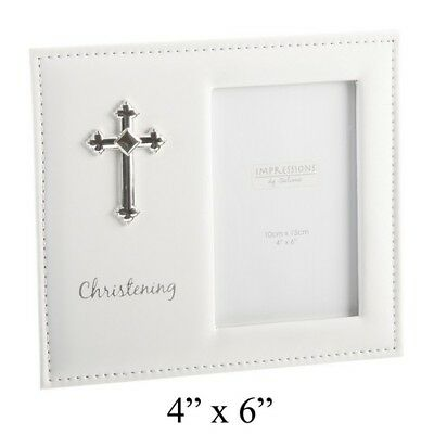 """Christening Gift Leatherette Photo Frame with Cross Holds 4x6"""" Photo NEW 14473"""
