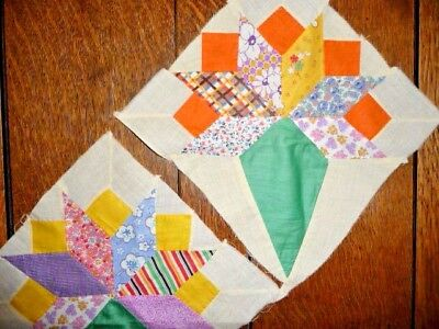 Antique Vintage Lot 0f 2 NOSEGAY Quilt Blocks  c.1930's- Crisp & Clean