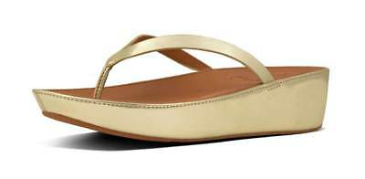 4503a0166ad Fitflop Linny Mirror Women Gold Mirror Toe Thong Wedge Sandals Size UK 3 - 8