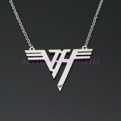 Hot VH Charm Eddie Van Halen band Logo Stainless Steel Pendant Necklace Jewelry