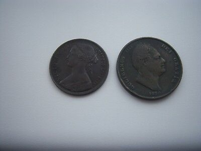 Coins.1834 Penny.&1863.penny.uk Only