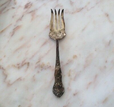 R.C. Co I/S Reprouse Rose silver flatware 1pc serving piece Vtg 1903 meat fork