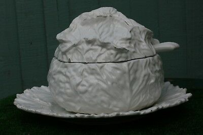 Superb Antique Large Majolica White Cabbage Tureen With Orig. Ladle & Base Plate