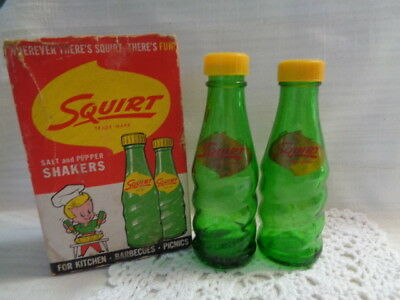 Vintage Green Glass Squirt Soda Bottle Salt and Pepper Shakers - IN BOX