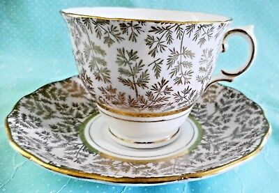 Colclough Bone China Cup & Saucer England Pink W Gold Leaves & Detail 1616