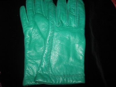 Women's Soft Green Leather Gloves W/acrylic Lining - Size 6.5