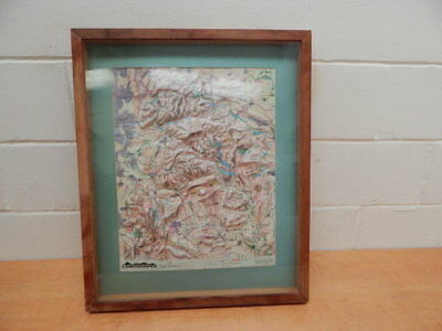 Framed PEAK DISTRICT Raised Relief Sculptured Contour Map By Landshapes 1989