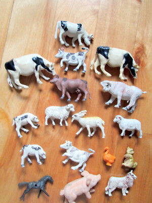 Vintage Lot of Plastic Toy Farm Animals Cows Calves Goats Ram Sheep Duck Dog