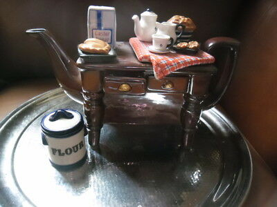 """Large Cardew Teapot """"baking Table"""" With Flour Barrel"""