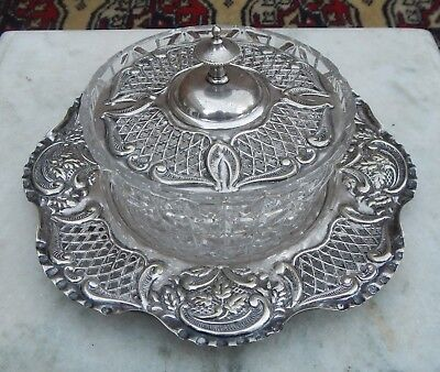 Antique William Page Silver Plated & Glass Ornate Decoration Butter Dish & Stand