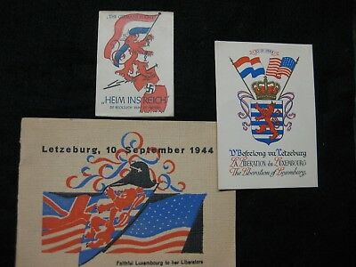 3 Wwii 1944 Luxembourg Liberation Booklets & Card Group Heim Ins Reich