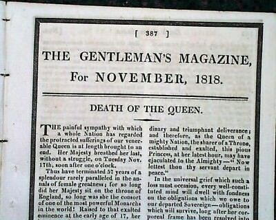 Queen Charlotte of England Death Report 1818 (Possibly) 1st Black Royal