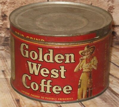 Vintage GOLDEN WEST Coffee Tin Can Cowboy Cowgirl 1930s 1 Pound Size