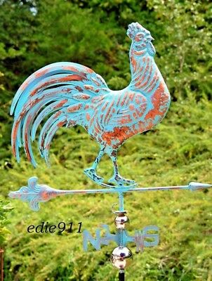 3D XL Strutting ROOSTER Weathervane AGED COPPER PATINA FINISH Functional NEW!