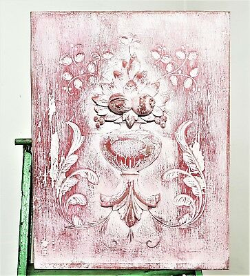 Shabby Withe Painted Panel Antique French Hand Carved Wood Salvaged Panelling