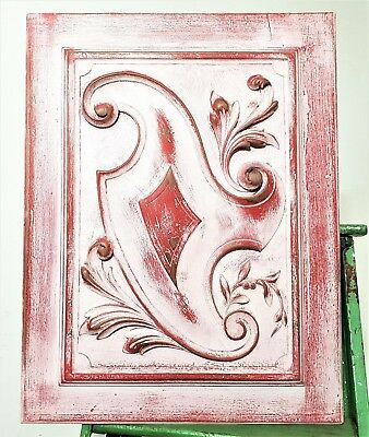Shabby White Painted Panel Antique French Hand Carved Wood Scroll Leaves Carving
