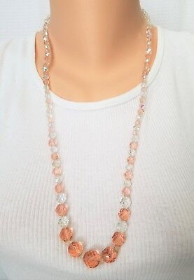 Vintage multi faceted crystal glass bead necklace graduated peach clear unsigned