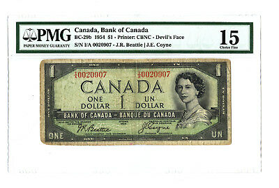 1954 $1 CANADA PMG 15 DEVIL'S FACE BC-29b BANKNOTE SN I/A 0020907 LOW SERIAL #