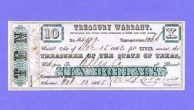 1863 $10 TEXAS RARE Treasury Warrant - CIVIL WAR SIGNED & DATED CRISP HIGH GRADE