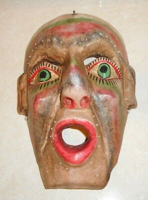 Antique Primitive Tribal Ritual Hand Carved Painted Wood Man Mask Southwest