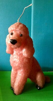 Vintage French Poodle Dog Wax Candle Mid Century Decor Kitsch Unused Pink