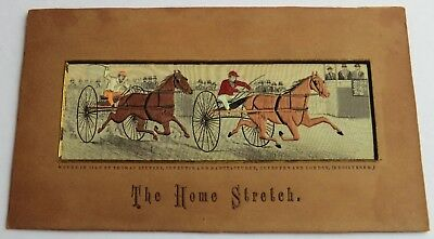 Stevengraph Woven Silk Picture Horse Harness Racing Scene - The Home Stretch