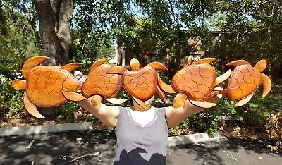 """38.5"""" x 8"""" HANDCARVED TEAK WOOD """"FAMILY OF TURTLES"""" WALL DECOR POINTING LEFT"""