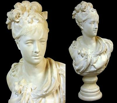Huge Antique/Vintage Victorian A Carrier Belleuse Plaster Bust Marie Antoinette