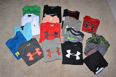 Lot of 17 boy's mixed shirts/shorts, Under Armour/Nike/Polo ++, size YS (6/8)