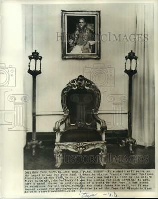 1965 Press Photo Papal throne chair for Pope Paul VI when he visits, New York.