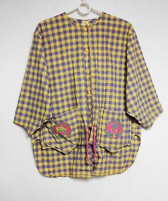 Vintage Girls Oilily Checkered Baggy Blouse Shirt Top 140