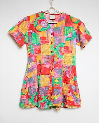 Vintage 80s Girls Abstract Neon Playsuit Jumpsuit Romper 140 / 7-10 yrs / XS ?