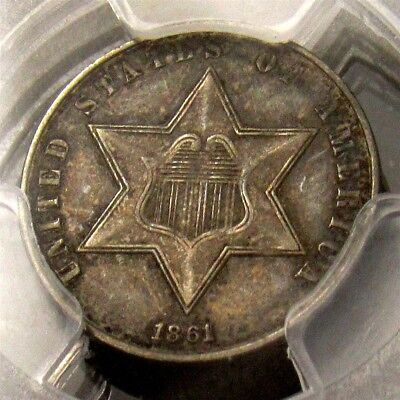 1861 Three Cent Silver Trime - PCGS XF45 - Certified & Graded 3c Piece