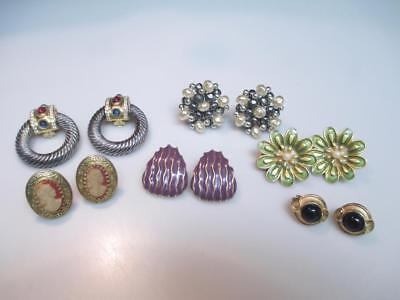 Lot Of 6 Pairs Vintage Clip Back Earrings --  One Pair Is Givenchy